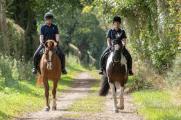 Pair of horses and riders walking along a leafy farm track on a summer day